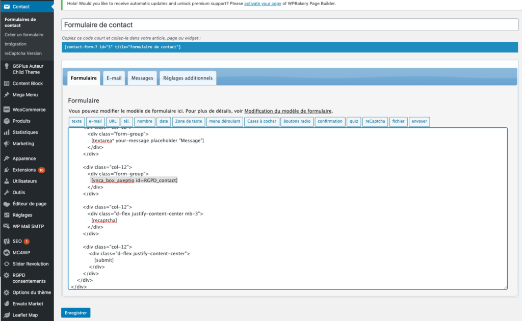 Intégration du shortcode Visions Nouvelles Axeptio avec le plugin Contact Form 7